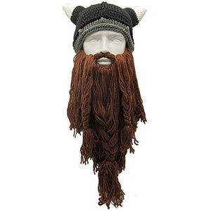 Halloween Costume Knit Mask Wig Beard Hat